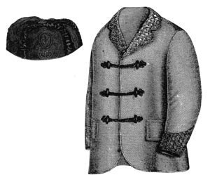 Victorian Sewing Patterns- Dress, Blouse, Hat, Coat, Mens 1868 Smoking Jacket & Cap Pattern $11.75 AT vintagedancer.com