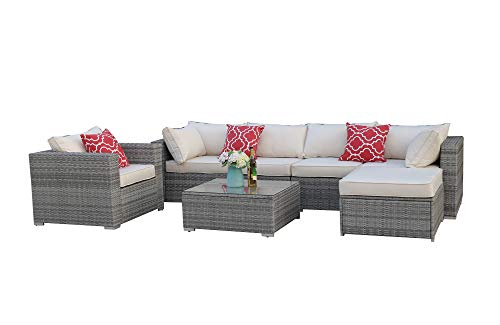 Do4U 3-12 Pieces Set Outdoor Patio Furniture Sectional Conversation Set,All-Weather Wicker Rattan Sofa Beige Seat & Back Cushions (3015-Grey-7 Pieces-A)