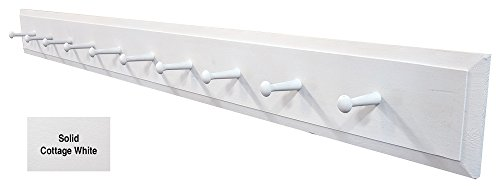 - Wall Coat Rack with Pegs - 4' Long (Solid Cottage White)