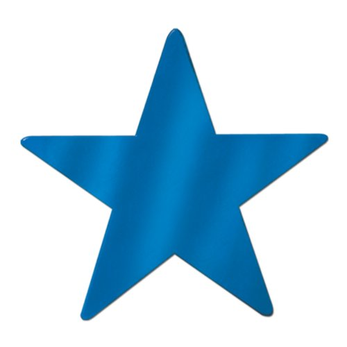 Beistle 55839-B 24-Piece Foil Star Cutouts, - Foil Star Blue