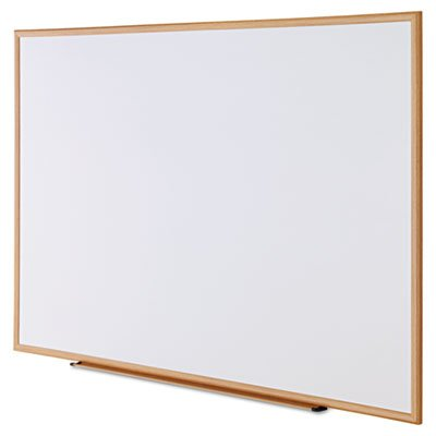 Dry-Erase Board, Melamine, 72 x 48, White, Oak-Finished Frame, Sold as 1 Each