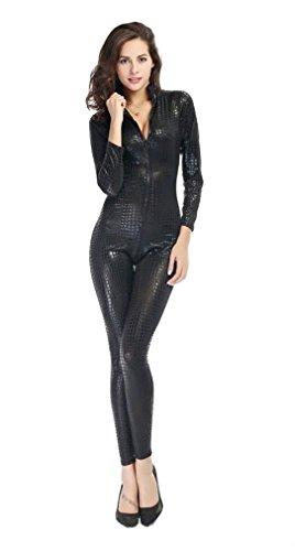 Leather Catsuit (Beautifulfashionlife Long Serpentine Leather Uniform Zentai Catsuit(xl, Black))