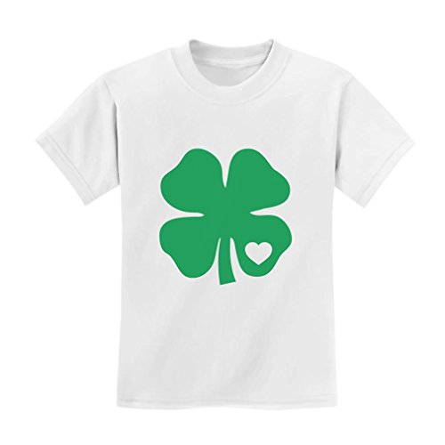 [TeeStars - Green Clover Heart St. Patrick's Irish Cute Shamrock Kids T-Shirt 3T White] (Cute St Patricks Day)