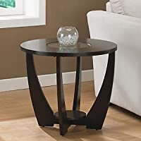 Archer End Table Espresso Finish with a Storage Shelf Underneath and a Glass Center Looks Amazing in Any Room