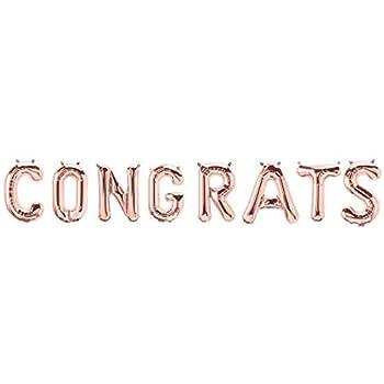 Amazon foil silver congrats letter balloon banner kit chic 16 congrats foil balloon rose gold letters alphabet bachelorette wedding celebration party decoration thecheapjerseys Choice Image