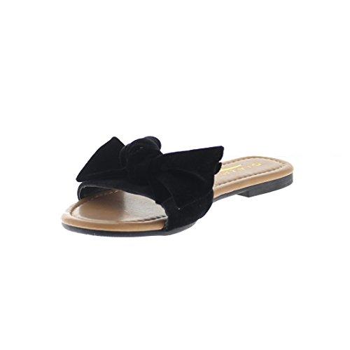 Velvet Glaze w Black 11 Slippers Women's Honey Bow 5ZrWZ1pF