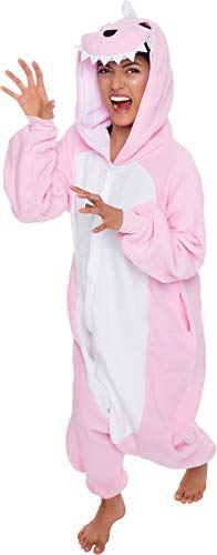Silver Lilly Unisex Adult Pajamas - Plush One Piece Cosplay Animal Dinosaur Costume (Pink, L)]()