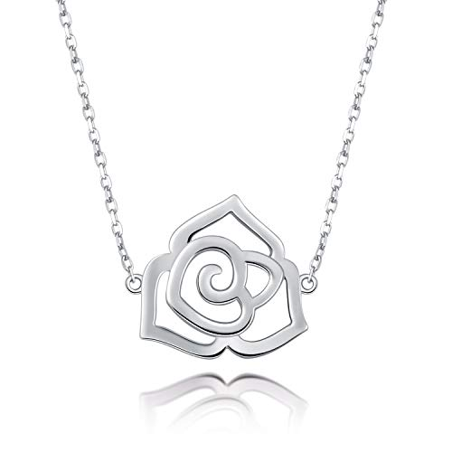 S925 Sterling Silver Jewelry Sideways Choker Necklace Rose Flower Horseshoe Sunflower Pendant Necklace 16 inches to 18 inches (Rose Flower Choker Necklace)