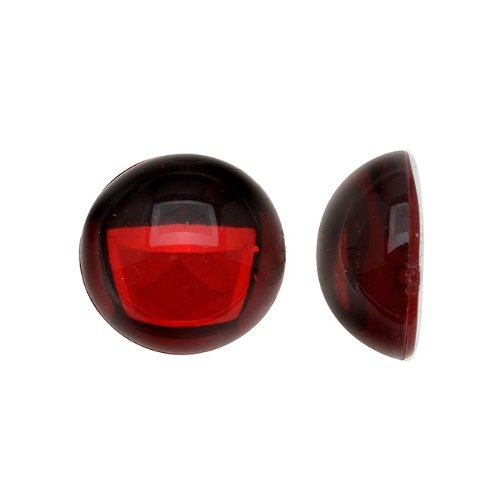 (Beadaholique Vintage Lucite Plastic Round Domed Cabochon - Ruby Red/Foiled 13mm (12))