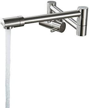 Lovedima Modern Single Lever Wall-Mount Retractable Pot Filler Faucet Cold Only with Dual Swing Joints Brushed Nickel