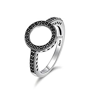 Giwotu Womens Mens Ring 925 Sterling Silver Clear Black CZ Circle Round Finger Rings for Women Jewelry Scr041 Scr112 7