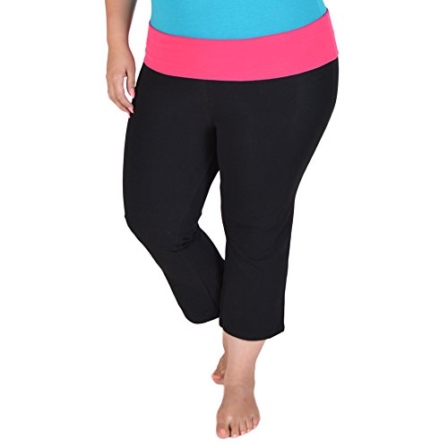 (Stretch is Comfort Women's Plus Size Capri Yoga Pants Hot Pink XXXL)