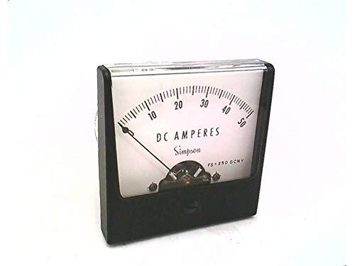 Ammeter; E-MECH; Analog; Range 0-50ADC; Stud; DIM 2.47LX2.47H; Plastic SIMPSON 02530 Panel Meter