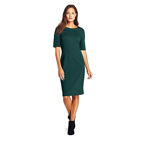 0f02119a Lands' End Women's Tall Ponte Knit Sheath Dress with Elbow Sleeves ...
