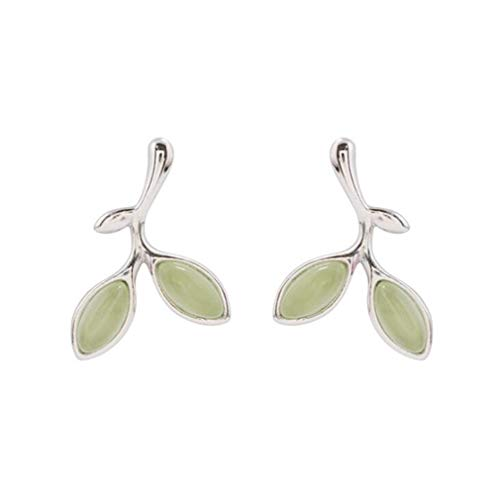 Natural Stone Green Tree Leaves Buds Choker Necklaces & Pendants For Women Fashion 100% 925 Sterling Silver Jewelry Earrings ()
