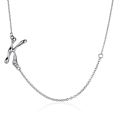Customized Money Halloween Costumes (KEB1 Tiny Stainless Steel Sideways Initial Necklace Silver Rugged Letters Charm Pendant for Women)