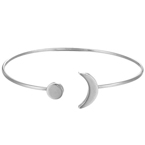 Dwcly Fashion Boho Simple Metal Women Upper Arm Bangle Bracelet Star Moon Open Cuff Armband Armlet Jewelry (Silver) (Boho Upper Arm Cuff)
