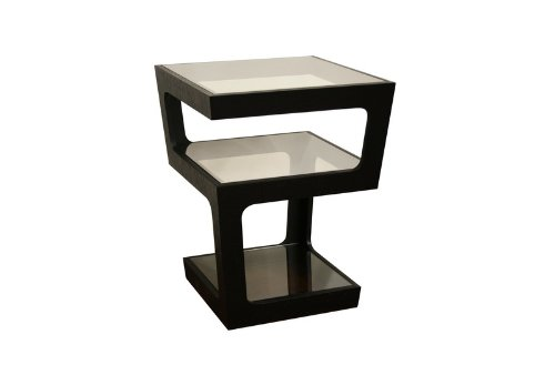 Baxton Studio Clara Black Modern Tall 3-Tiered End (Wholesale Interiors Glass Coffee Table)