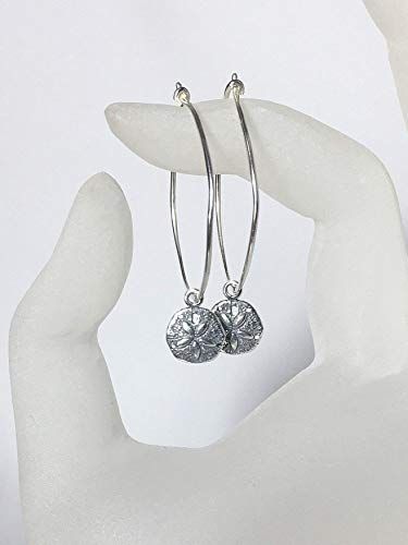 Sand Dollar Hoop Earrings, Sterling Silver Ear Wires, Floating Charms