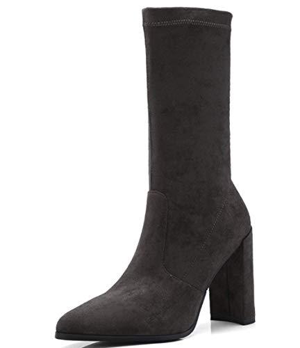 Shiney E Nuovi Grey Inverno Elastici Stivali Calzini Tacco Con Da Donna Autunno Grosso l1JT3uFKc5