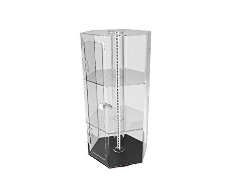 FixtureDisplays Clear Plexiglass Acrylic Spinning Cabinet Display Case for Jewewlry, Cell Phone, Valuable 14603