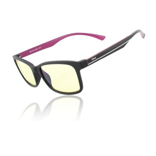DUCO Video Glasses Computer Gaming Eyewear with Amber Tint Lens TR90 Arms Inner Purple Arms 224