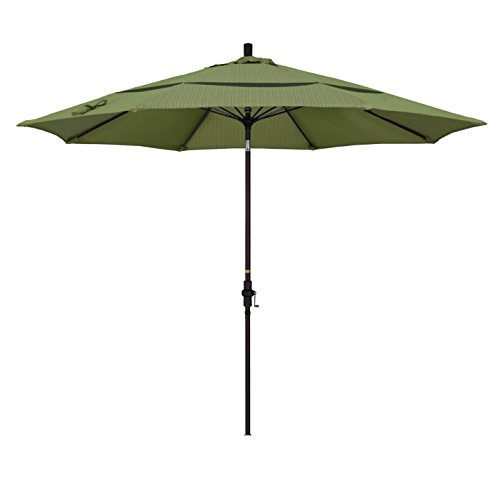 California Umbrella 11' Round Aluminum Pole Fiberglass Rib Market Umbrella, Crank Lift, Collar Tilt, Bronze Pole, Terrace Fern Olefin