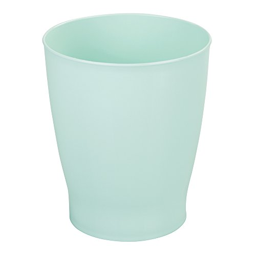 mDesign Slim Round Plastic Small Trash Can Wastebasket, Garbage Container Bin for Bathrooms, Powder Rooms, Kitchens, Home Offices, Kids Rooms - Mint by mDesign