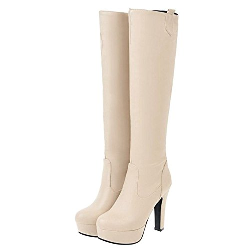 Platform High Solid Fashion Women High Knee Smilice Boots Heel Color Block Beige Boots aqAYwW6v