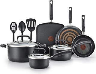 T-fal C530SC Signature Nonstick Dishwasher Safe Cookware Set, Nonstick Pots and Pans Set, Thermo-Spot Heat Indicator, 12 Piece, Black (Renewed) (Best Dishwasher Safe Cookware Set)