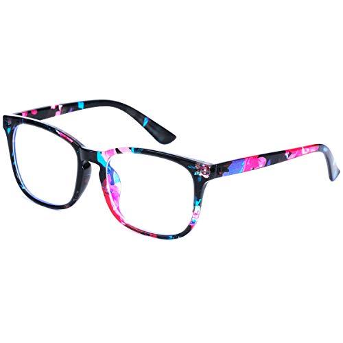 GEKKALE Blue Light Blocking Computer Glasses Square Nerd Eyeglasses Frame Anti Eye Strain Headache Computer Reading Glasses (flower-1pack)