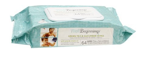 Well Beginnings Baby Wipes Green Tea & Cucumber With Aloe & Vitamin E, 128 count