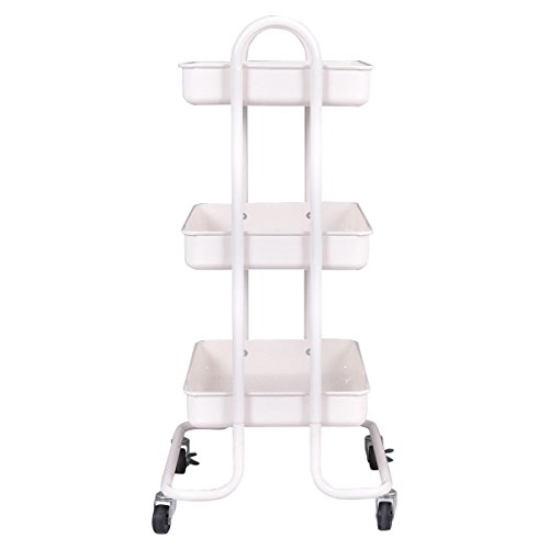 totoshop New Ivory Steel Rolling Kitchen Trolley Cart Storage Kitchen Serving Island Utility 3-Tier by totoshop