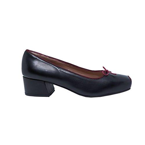 Chaussures Femme Talons QUOQUE Cuir Noir Rouge M10342 À XnwUqd