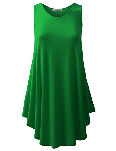 URBANCLEO Womens Scoop Neck Sleeveless Elong Tunic Top Shirt KGREEN 2XLARGE (The Real Meaning Of St Patrick Day)