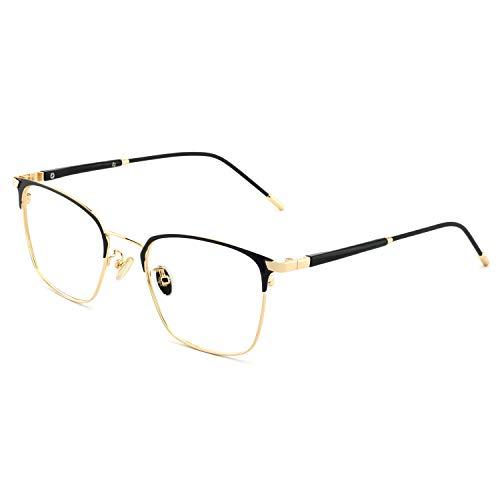 OCCI CHIARI Fashion Retro Rectangular Non-Prescription Eyewear Frame Designer For Women(Black/gold)