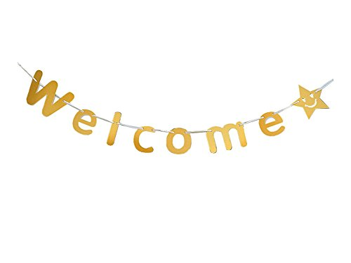 Kingmerlina Welcome Party Banner Bunting Wedding Birthday Home Store Decoration Photo Booth Props Party Supplies - Props Your Photo Own Make To Booth How