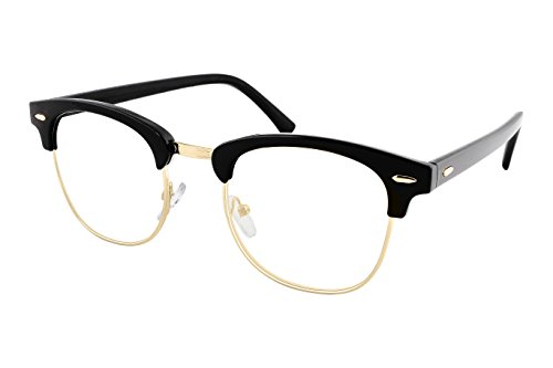 FEISEDY Half Frame Sunglasses For Men Women Classic Transparent Sun - Clubmaster Oversized