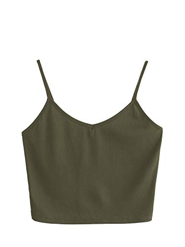 SheIn Women's Casual V Neck Sleeveless Ribbed Knit Cami Crop Top Army Green Large