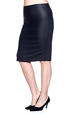 Rokoko Plus Women's Below The Knee Pu Coated Office Pencil Skirt