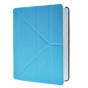 Conseguir Reposo automático y despertador azul caja de la PU de cuerpo completo con la cubierta elegante, soporte y Protección Flocado interior para iPad 2/3/4