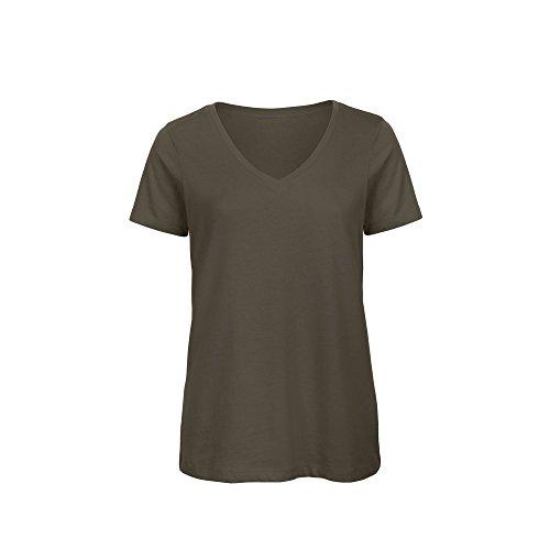 B&C Womens/Ladies Favourite Organic Cotton V-Neck T-Shirt (L) (Khaki)