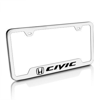 Amazon.com: Honda Civic Brushed Steel License Plate Frame: Automotive