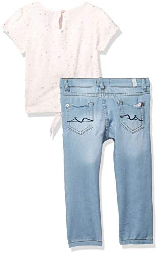 7 For All Mankind Girls Toddler Short Sleeve Tie Top and Denim Jean Set