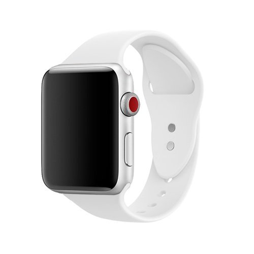 White Sports Watch (AdMaster Silicone Apple Watch Band and Replacement Sport iwatch Accessories Bands Series 3 2 1 White 42mm M/L)