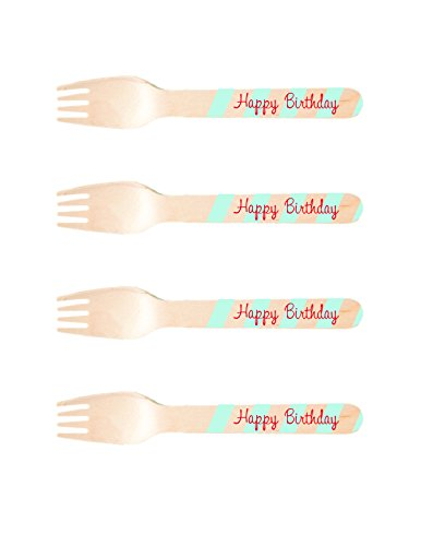 (Perfect Stix-Sucre Shop Happy bday-20 Happy Birthday Printed Wooden Forks, Blue/Red (Pack of 20)