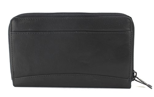 Zipper -Around Clutch Wallet with ID Window (Double Zip Around Checkbook Wallet)