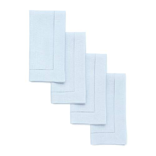 Pastel Blue Linen - Solino Home Hemstitch Linen Napkins - 20 x 20 Inch, Light Blue Set of 4 European Flax Dinner Napkins - Machine Washable Classic Hemstitch - Natural Fabric, Handcrafted with Mitered Corners