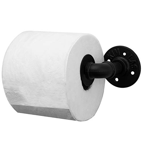 MyGift Industrial Metal Matte Black Pipe Wall Mounted Toilet Paper Roll Holder (Seattle Toilet Paper)