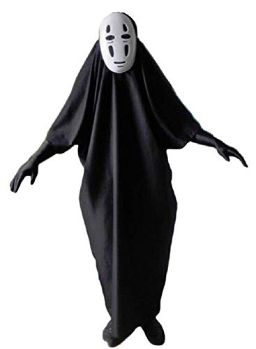 GK-O Spirited Away No Face Kaonashi Cosplay Costume with Purple Mask+Clothes+Gloves (Asian Size M)